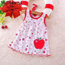 The New Listing Children's Dress 2018 New Girls Flower Fashionable Pure Cotton Comfortable Vest Dresses+Headband(China)