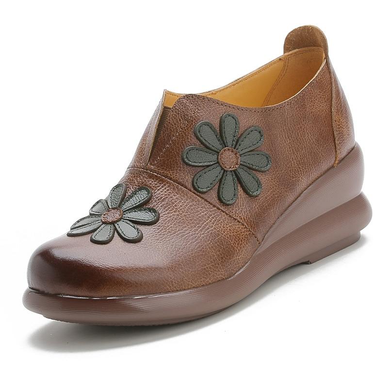 Fashion Flower Soft Bottom Design Round Toe Platform Wedges Shoes Vintage Genuine Leather Women Loafers 2020