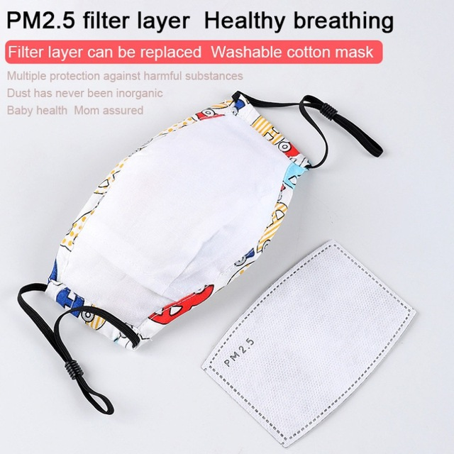 PM2.5 Children Reusable Mask With 1pc Replaceable Filter Anti Dust Mouth Mask Respirator Kids Face Protective Mask 3-12 Years 4