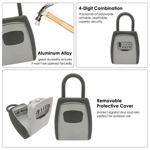 Image 4 - 키 스토리지 벽 마운트 알루미늄 합금 키 안전 상자 비바람에 견디는 잠금 야외 키 안전 상자 보안 주최자 상자
