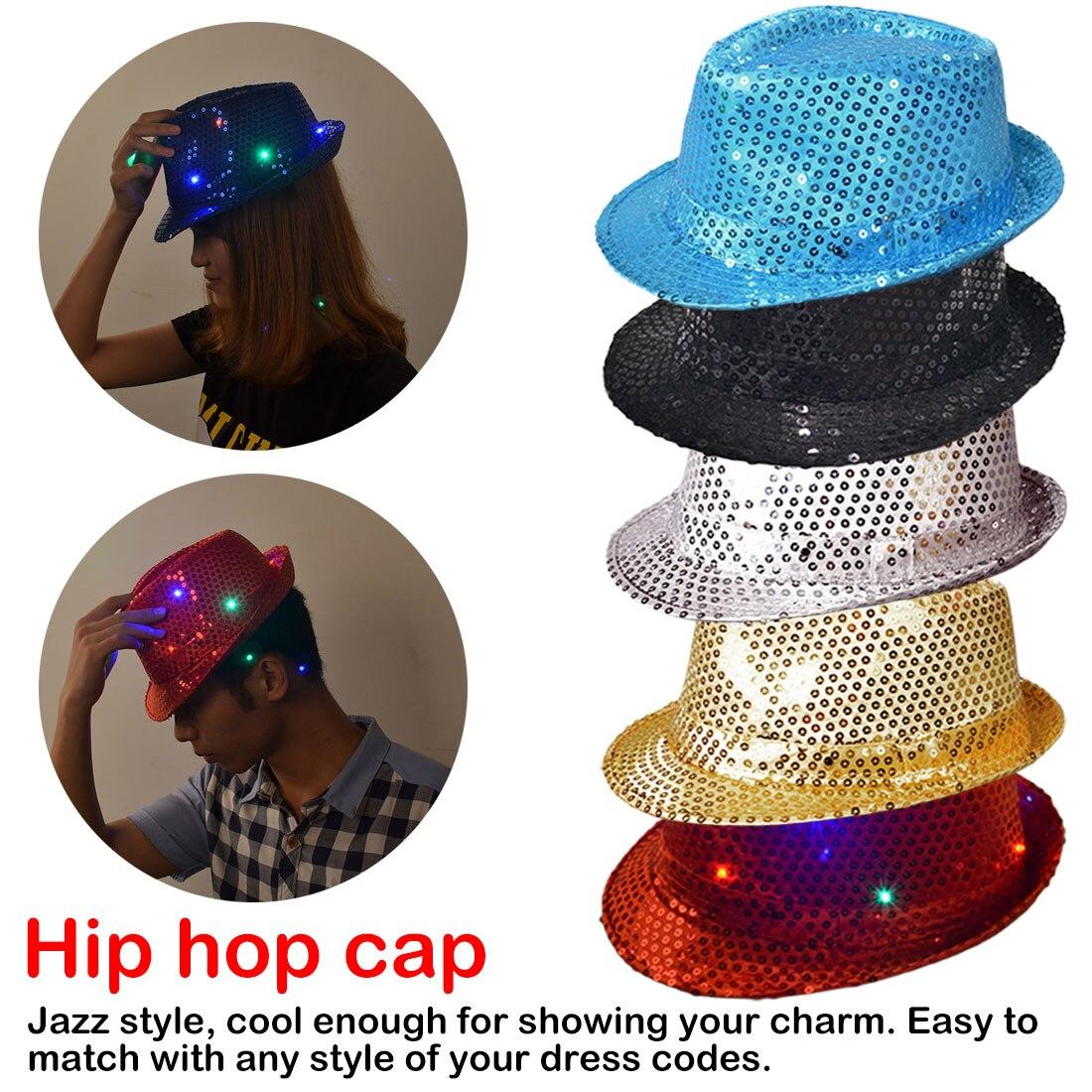 Wedding Decoration Halloween Hats Caps Sequins LED Light Jazz Hats Man Boy Woman Girl Flashing Birthday Party Cap