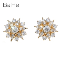 BAIHE Solid 14K White/Yellow/Rose Gold 0.42ct Total H/SI Natural Diamonds Wedding Women Trendy Fine Jewelry Gift Stud Earrings