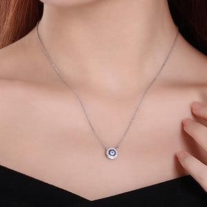 Image 3 - KALETINE Turkey CZ Evil Eye 925 Sterling Silver Jewellery Sets for Women Blue Round Pendant Necklace Ring Stud Earrings Wedding