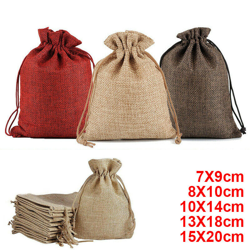 Wholesale Price Natural Reusable Linen Bags With Drawstring For Jewelry Small Coins Purse Gift Pouch Bag