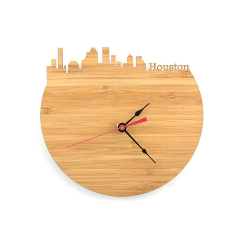 Creativity Houston Bamboo Wall Clock - Decorate Your Home With Modern Art Skyline Design - Best Gift Natural City Wall Clock