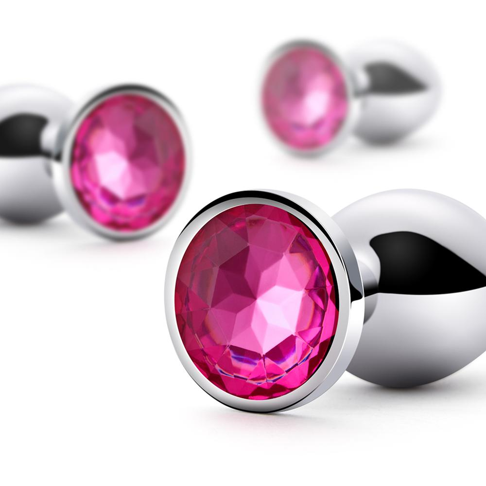 Luvkis Anal Plug with Pink Jewel Adornment Sex Toys Products Butt Plug Gay Anal Beads Sex