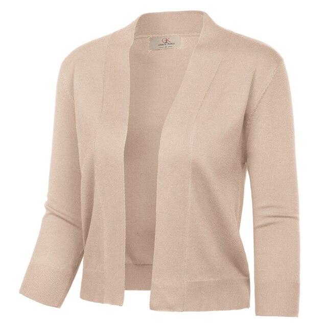 GRACE KARIN Damen Bolero 3//4 /Ärmel Rundhals Strickjacke Open Front Elegant Kurz Cardigan Sweater