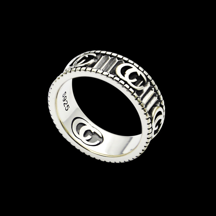 Titanium steel jewelry wholesale G letter stripe ring lovers foreign trade carved texture ring|Rings| - AliExpress