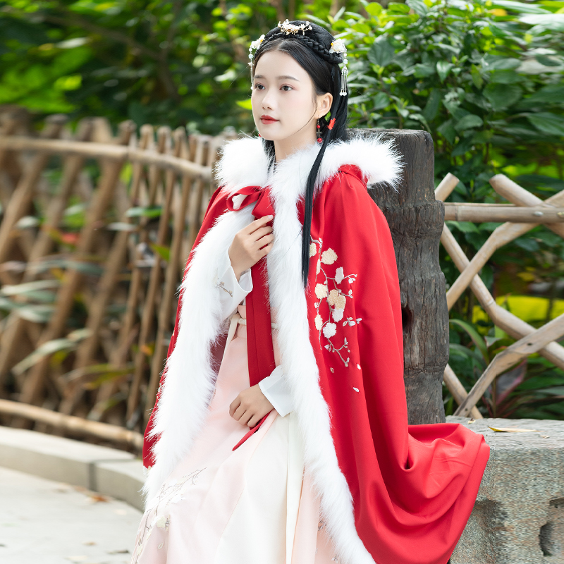 New Autumn Winter Hanfu Embroidered Cloak Chinese Traditional Ancient Women Daily Hooded Coat Female Cosplay Red Hanfu DQL2179