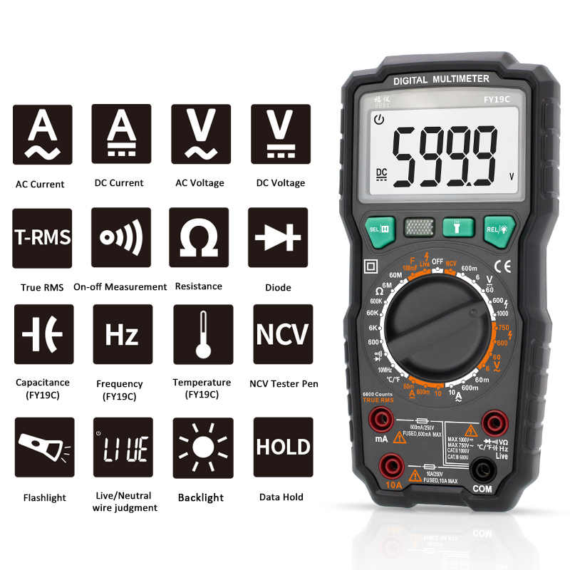 Digital Multimeter Suhu Tester 6000 True RMS Profesional Amp Multimetro Kapasitansi Meter AC DC Tegangan Ncv Ohm Hz Tester