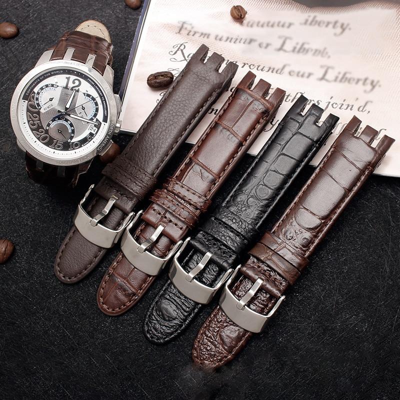 Fermoir en cuir de veau véritable, 21MM, pour Swatch YRS403 412 402G, Bracelet de montre, poignet, outil à extrémité incurvée