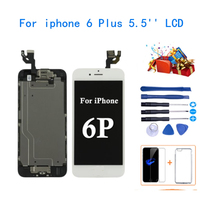 Replacement LCD Touch Screen Digitizer For iPhone 6 Plus +Home Button+Front Camera+Ear Speaker Assembled + Free Gift