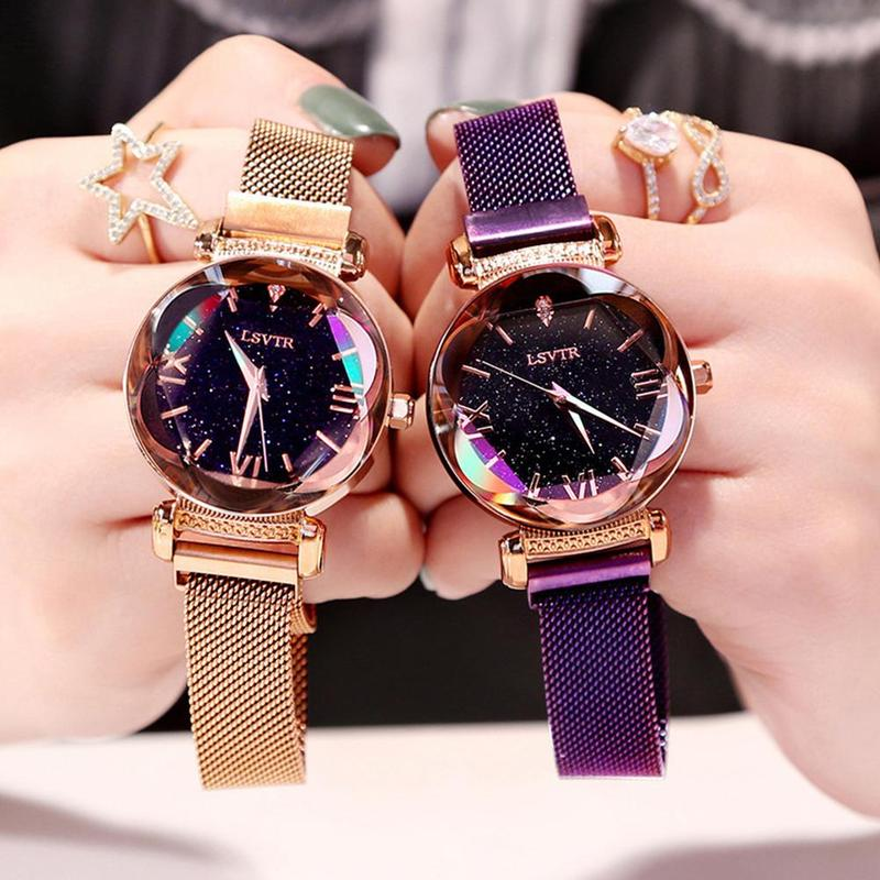 New Fashion Star Quartz Watch Glass Quartz Mesh With Magnetic Buckle Ladies Watch Star Magnet Watch With Magnet Watch