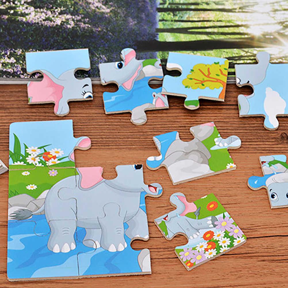 Madera colorida dinosaurio cebra Animal rompecabezas tablero de rompecabezas juguete inteligente para niños promueve la coordinación de las habilidades de resolución de problemas