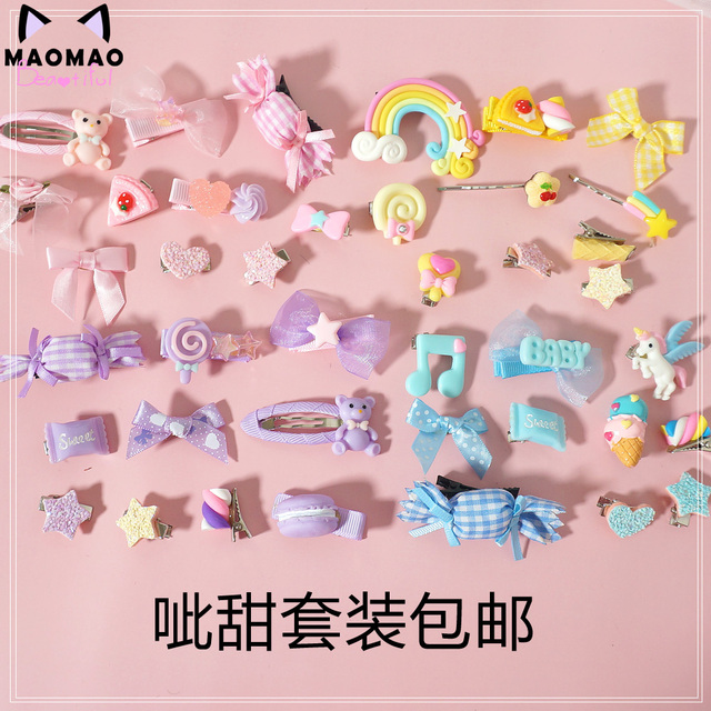 Lo Mother for sweet hand violet powder was yellow lolita small hairpin Hair bared sweet soft candy bear sister Meng