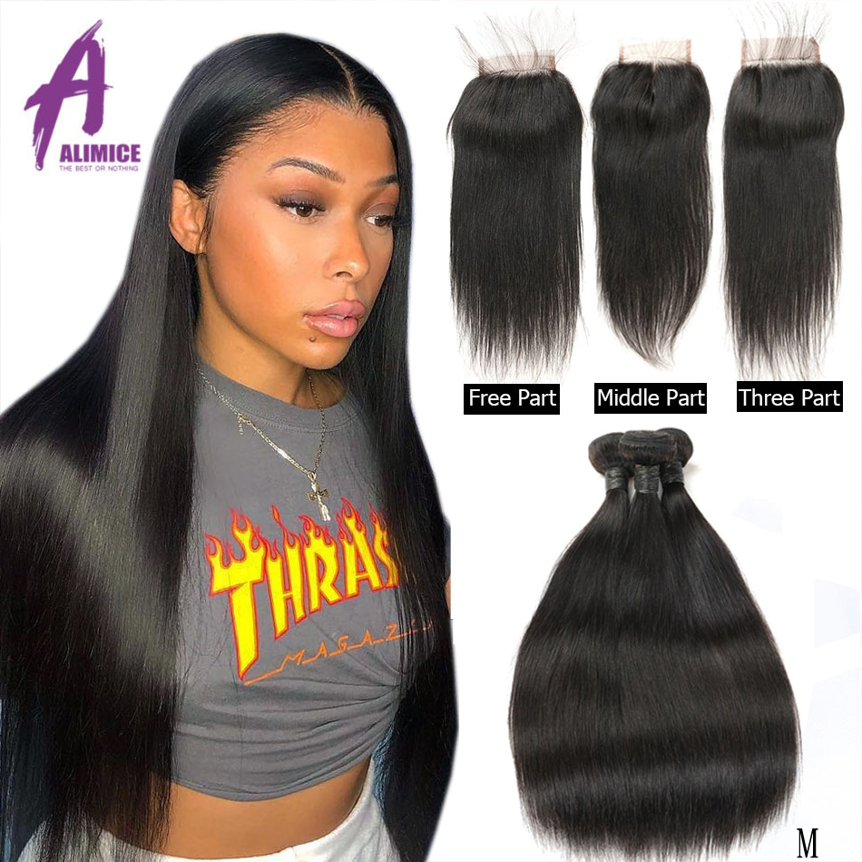 8-30 Inch Bundles With Closure Brazilian Straight Hair Weave Bundles With Closure Alimice Human Hair With Closure Remy