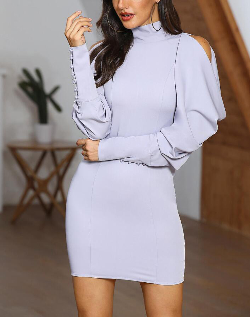 Women Buttoned Cuff Cold Shoulder Dress Long Sleeve Party Evening Club Vestido Autumn Style Office Dresses