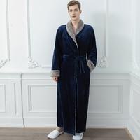 Men Fur Robe Navy