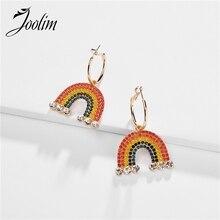 Joolim Jewelry Wholesale Colorful Rainbow Hoop Earring Design Luxury Party