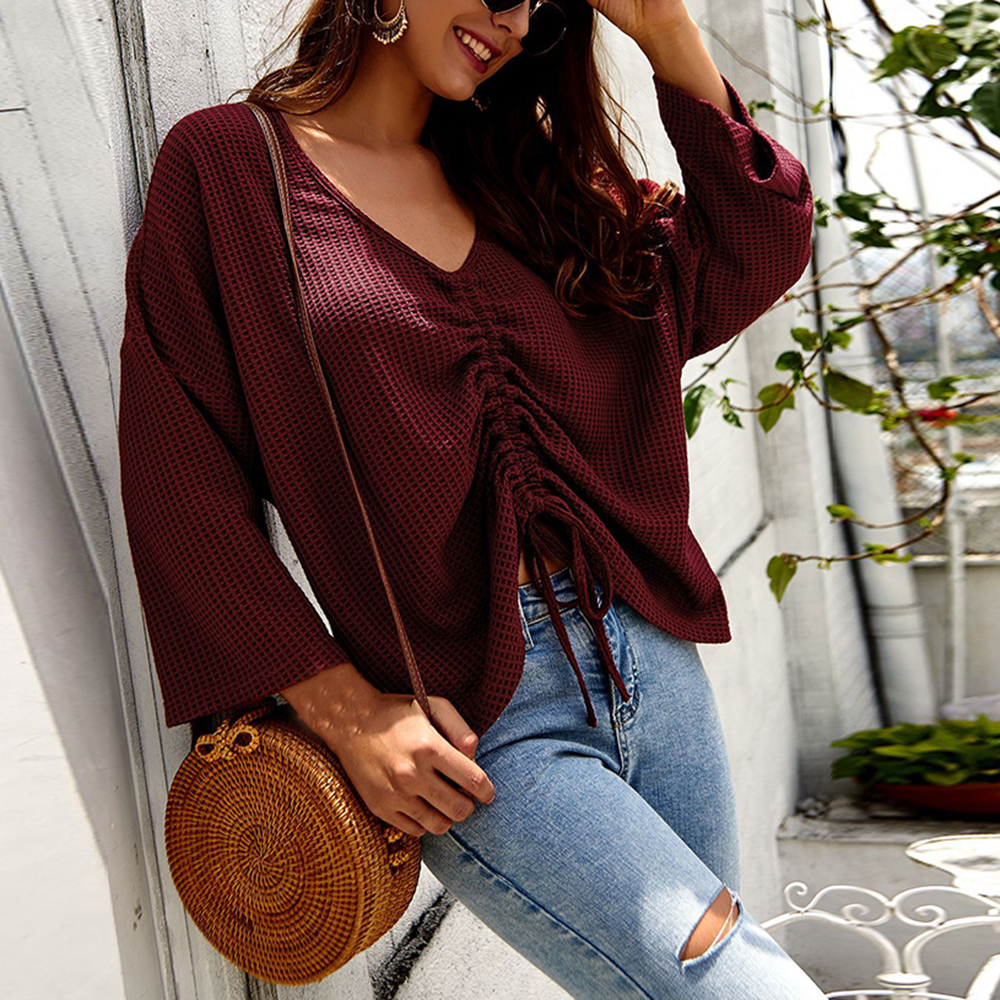 NIBESSER New 2020 Lady Drawstring Sexy V Neck Sweater Women Ruched Knitted Pullovers Fashion Solid Color Long Sleeve Casual Tops