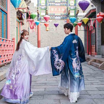 Chinese Hanfu Men&Women Ancient Traditional Embroidery Purple&Blue Jacket Cosplay Costume Vintage Hanfu For Couples Plus Size 2020 hanfu coat chinese crane print hanfu coat traditional ancient han tang dynasty red cloak female cosplay cardigan