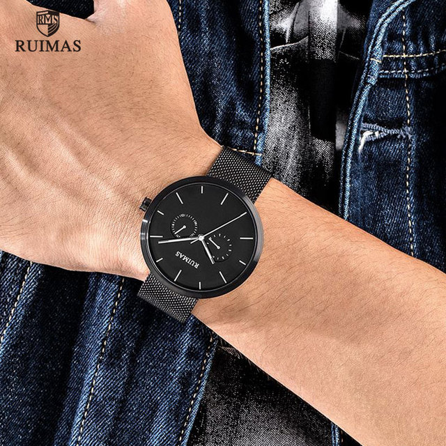 RUIMAS Steel Mesh Belt Watch Causal Fashion Thin
