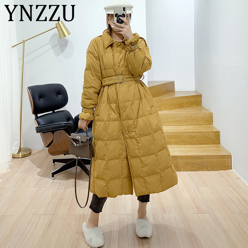 YNZZU Elegant Long Style 2019 Autumn Winter Women's Down Jacket Solid Korean 90% White Duck Down Coats Female Trench Coat A1160