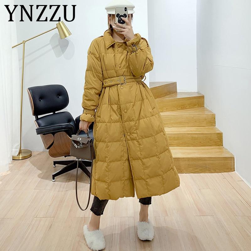 YNZZU Elegant Long Style 2019 Autumn Winter Women's   Down   Jacket Solid Korean 90% White Duck   Down     Coats   Female Trench   Coat   A1160
