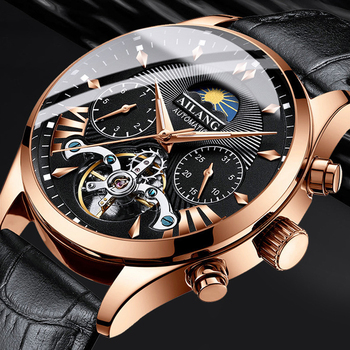 AILANG top luxury brand men's mechanical watch moon phase multi-function tourbillon diving clock business style - discount item  42% OFF Men's Watches