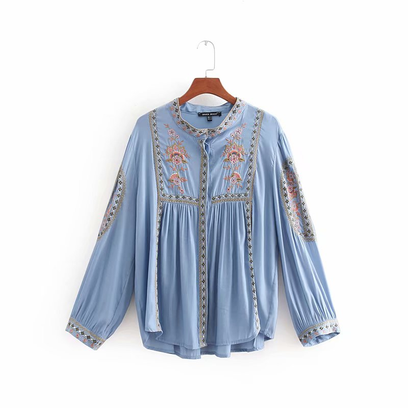 2020 women vintage stand collar totem floral embroidery pleats casual kimono blouse shirt women femininas blusas tops LS2514