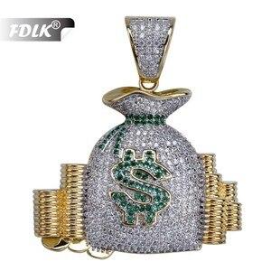 FDLK хип-хоп, американская сумка для денег, набор наличных монет, ожерелье с подвеской золотого цвета, мужское подвесное украшение