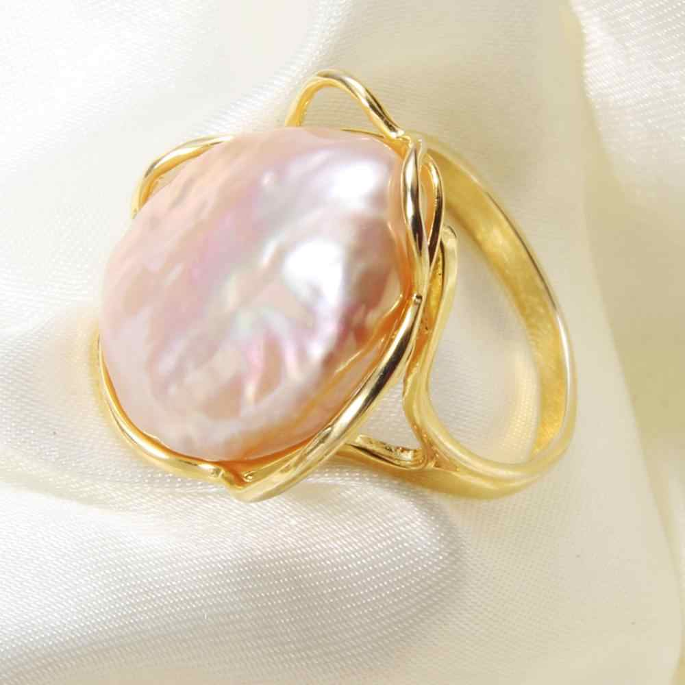 baroque pearl Open Ring for Women Party Natural Freshwater Irregular Big Pearl Gold Color Rings Fine Jewelry Gift