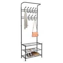 Hall Tree Metal Entryway 18 Hooks Coat Rack with 3-Tier Shoe Rack, Hallway Organiser Black(China)