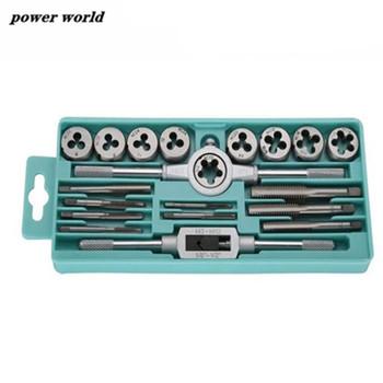 Zestaw kranów i matryc z małym kranem skręcane narzędzia ręczne 1 16-1 2 #8222 NC gwint gwintowany krany śruba ręczna krany ręczne tanie i dobre opinie power world Obróbka metali Tap die set 1 Set Stali stopowej tool171 Prawo 20Pcs set