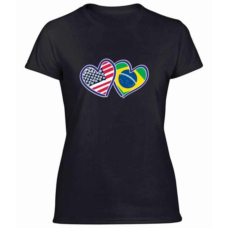 In Khủng Brasil Của Nó Tôi DNA In Cho Nam Vui Nhộn Cổ Tròn Quần Áo Brasil Nam T Áo Sơ Mi Cotton Ngắn tay Áo Thun