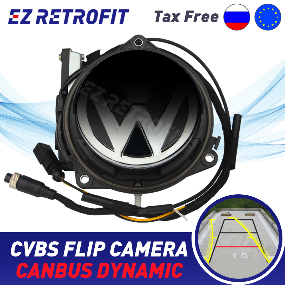 Canbus Dynamic Trunk Handle Badge Reverse Camera Flip Emblem Rear Camera For VW Passat CC B8 Golf 7 MK7 Golf 5 Golf 6 Polo EOS