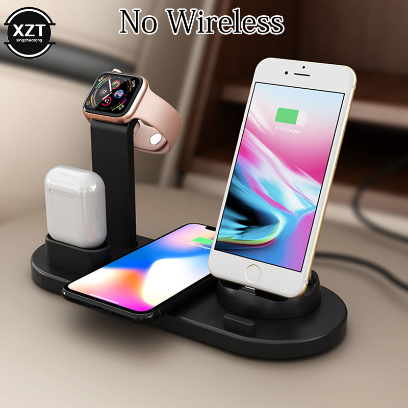 Charging Dock Station For Apple Watch IPhone X XS XR 8 11 Samsung S10 S9 Airpods 10W Qi Fast Wireless Charger Stand Holder