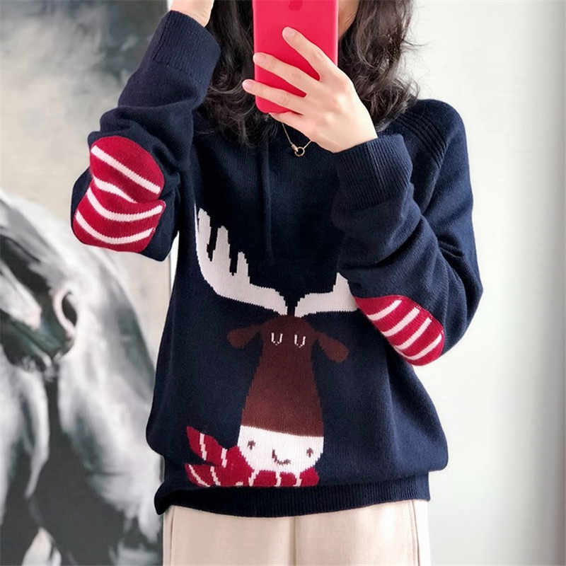 2019 Fall Winter Clothes Thick 100% Cashmere Womens Sweaters Kawaii Christmas Hooded Knitting Pullover Wool Ladies Jumper Tops