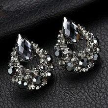 цена на BYSPT  Luxury Waterdrop  Earrings Gray Crystal Oval Stud Earrings For Women Piercing Jewelry waterdrop stud earrings