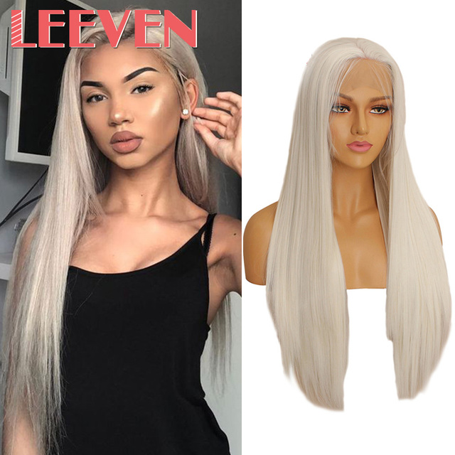 Leeven 24 Silky Straight Hair Synthetic Lace Front Wig 613 Blonde Wigs For Woman Pink Copper Ginger Cosplay Wigs Baby Hair