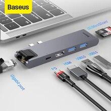 Baseus USB C HUB نوع C إلى متعدد USB 3.0 محور HDMI محول قفص الاتهام لماك بوك برو HUB USB C ملحقات الكمبيوتر USB C الخائن