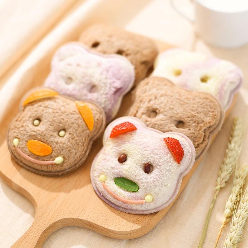Sandwich Mold Little Bear Shape Bread Biscuits Embossed Device Cake Mold Maker DIY