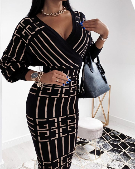 2020 Women Fashion Elegant Casual New Autumn Officewear Printing Long Sleeve Wrap Midi Dress 4