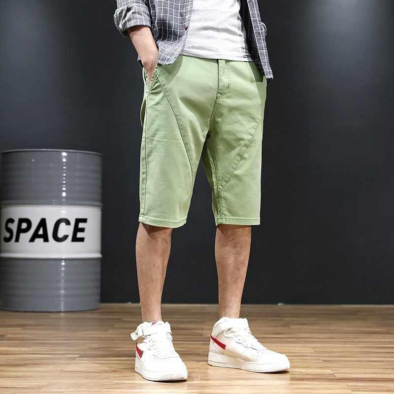 Zomer Nieuw Merk Mens Losse Knie Lengte Rechte Shorts Mode Toevallige Katoen Blends Solid Vintage Knop Shorts Plus Size 30 -48