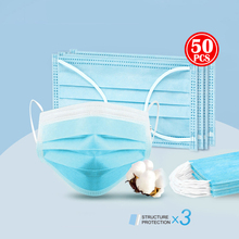 50pcs Surgical Mask Face Mask Medical Masks 3-Ply Nonwoven N95 PM2.5 Anti Virus Flu Hygiene Face Mouth Disposable Masks