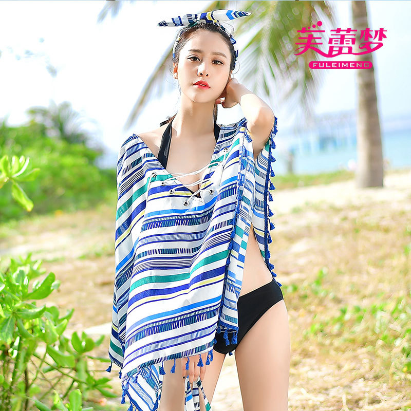 Seaside Holiday Large Size Chiffon Shirt Bathing Suit Bikini Sun-resistant Outdoor Cover-up Beach Skirt Loose-Fit Overclothes Wo