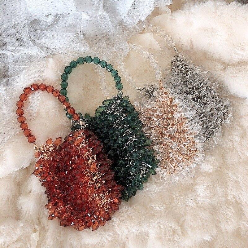 Transparent Crystal Ring Pure Handbag 2020 New Crystal Agate Green Bead Bag  Womens Handbags And Purses