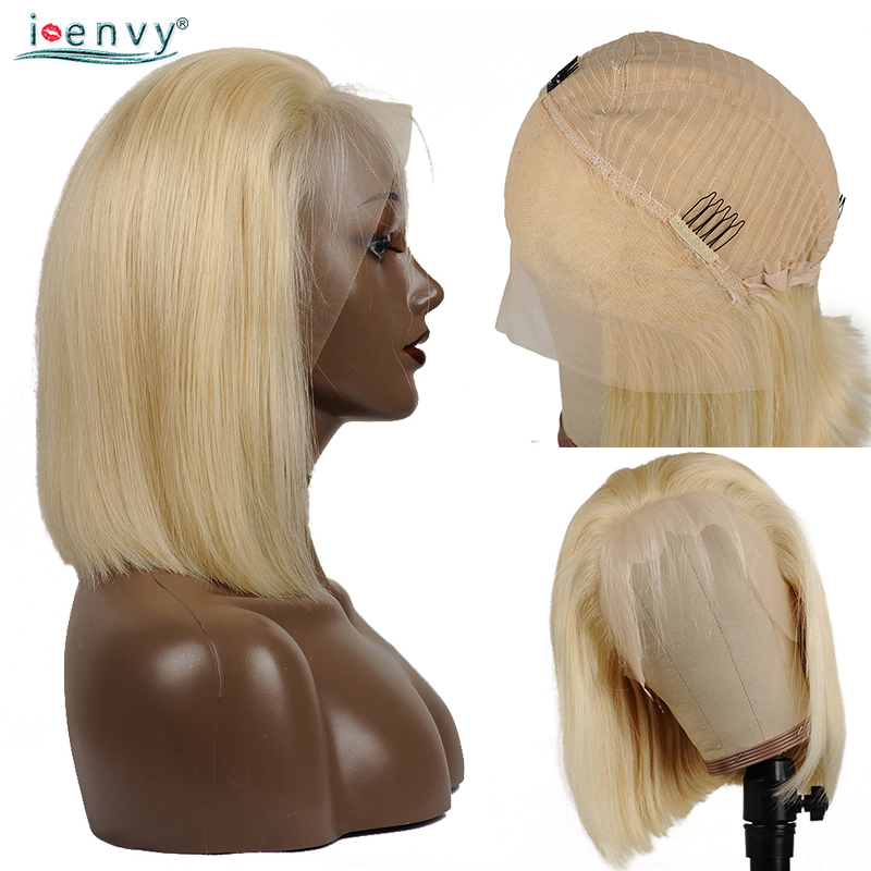 13X4 Short Bob Wigs Ombre 613 Honey Blonde Lace Front Wig Pre Plucked With Baby Hair Peruvian Straight Remy Front Lace Wig Bob