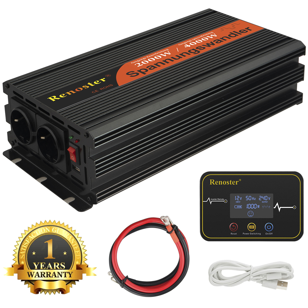 Renoster 2000/4000w Modified Sine Wave Power Inverter 12v 220v Power Inverter With Remote Control Converter For Car Camping Van