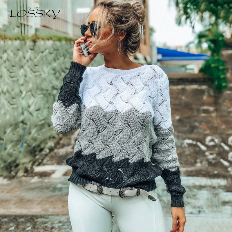 Lossky Autumn Winter Warm Sweaters Ladies Black Pullover Women Long Sleeve Patchwork Loose Tops Openwork Clothing 2019 Leisure